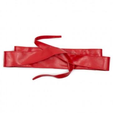 Fusciacca rossa da donna cintura in ecopelle