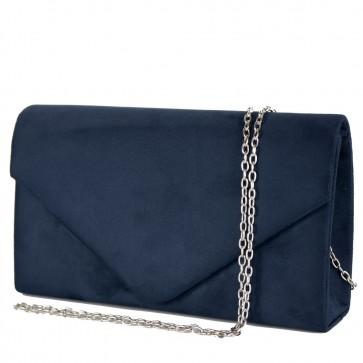Pochette blu donna elegante scamosciata e tracolla