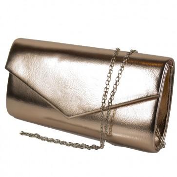 Pochette champagne oro laminata cerimonia con tracolla