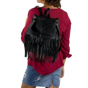 Zaino donna vintage con frange nero outfit