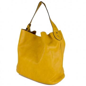 Shopping bag gialla con tracolla