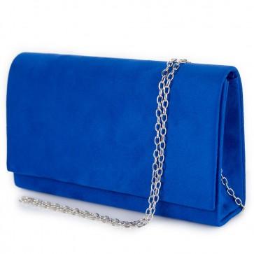 Pochette donna scamosciata elegante con tracolla blu elettrico