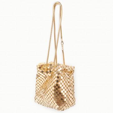 Pochette oro elegante cerimonia in maglia metallica