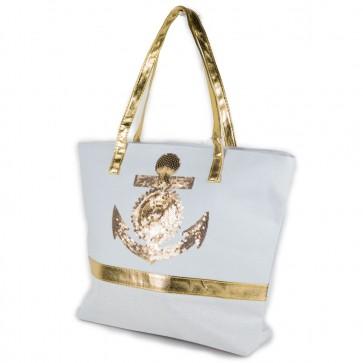Borsa bianca e oro di tela da donna
