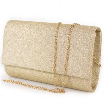 Pochette dorata elegante glitter da cerimonia con tracolla in catena