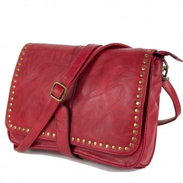 Borsa tracolla rossa con borchie casual