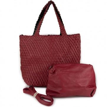 Shopper rossa con fascia intrecciata