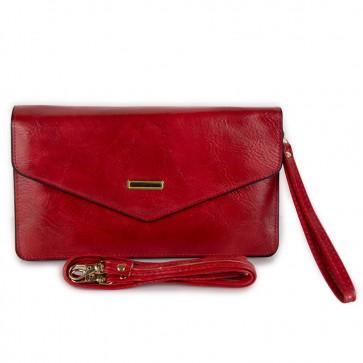 Portafogli rosso con tracolla da donna