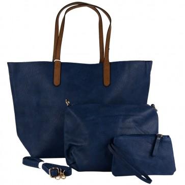 Borsa blu grande hobo bag con tre accessori completo