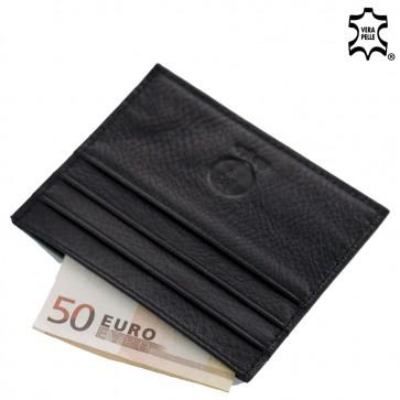 Porta carte credito uomo in pelle nero flat