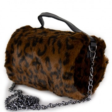 Borsetta di pelliccia ecologica leopardata