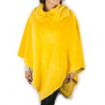 Poncho pelliccia gialla ecologica con collo a fiocco