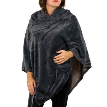 Poncho grigio da donna in pelliccia ecologica