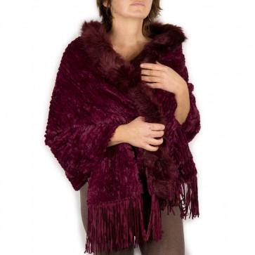 Mantella bordeaux pelliccia ecologica elegante con frange