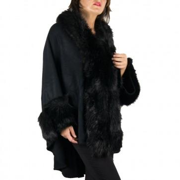 Mantella nera con collo di pelliccia ecologica