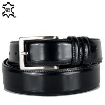 Cintura elegante uomo con cuciture ai bordi nero all