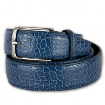 Cintura blu stampa coccodrillo elegante da uomo