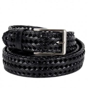 Cintura intrecciata nera in vera pelle da uomo