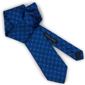 Cravatta blu da uomo con micro fantasia pois