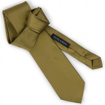 Cravatta senape jacquard micro fantasia