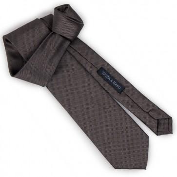 Cravatta marrone jacquard micro fantasia