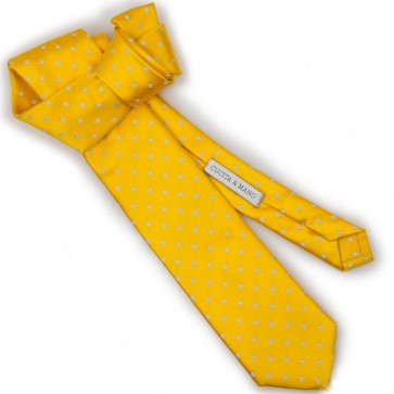 Cravatta gialla matrimonio uomo cucita a mano
