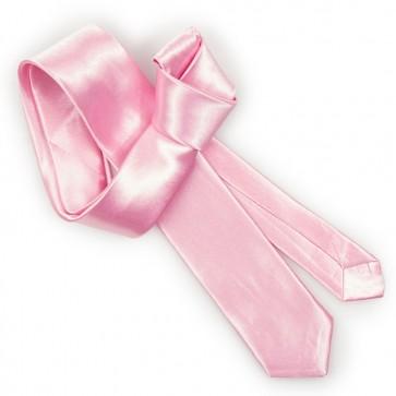 Cravatta rosa slim uomo tinta unita