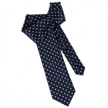 Cravatta blu a pois bianchi all 1