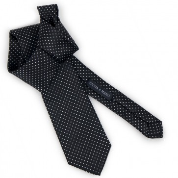 Cravatta nera a pois bianchi elegante classica
