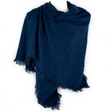Sciarpa blu donna quadrata bouclè
