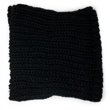 Sciarpa nera ad anello con maglia a trecce