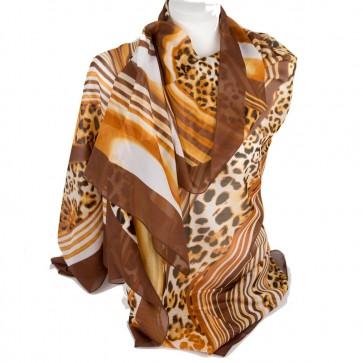 Foulard animalier stampa leopardo giallo