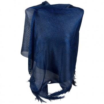 Stola blu lurex elegante cerimonia a rete con frange