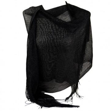 Stola nera elegante cerimonia a rete con frange