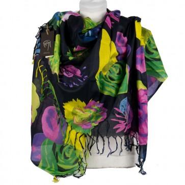 Foulard Gai Mattiolo fantasia fiori su sfondo nero