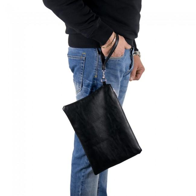 Pochette uomo da polso morbida semplice con maniglia in pelle PU-Nero cc441bf29ea