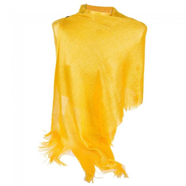 molto carino f7572 d8823 Stola gialla elegante lurex da cerimonia a rete con frange