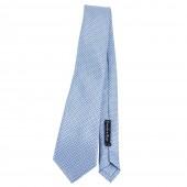Cravatta azzura fantasia micro tratto e punta da uomo