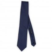 Cravatta blu pois rosa cucita a mano