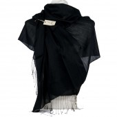 Foulard elegante con frange tinta unita