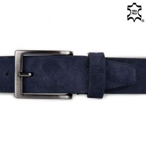 Cintura in pelle blu scamosciata senza cuciture