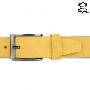 Cintura uomo gialla scamosciata senza cuciture