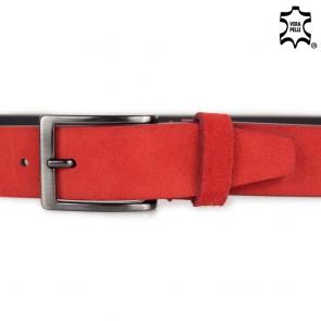 Cintura uomo rossa scamosciata senza cuciture