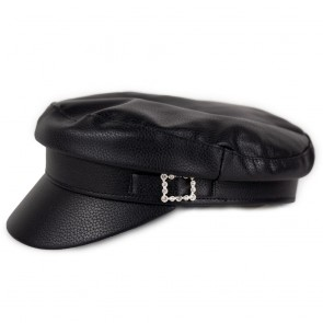 Cappello nero donna in ecopelle