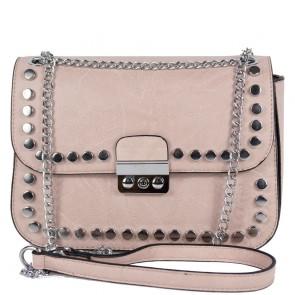 Borsetta rosa borchiata da donna con tracolla in catena