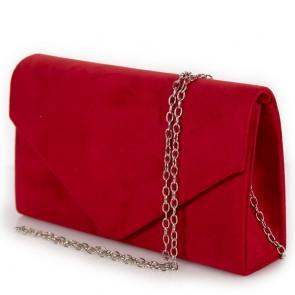 Pochette rossa scamosciata elegante con tracolla
