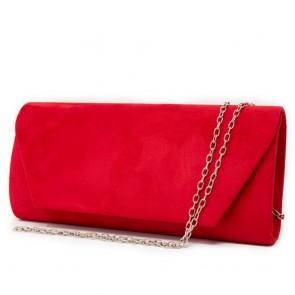 Pochette rossa scamosciata elegante cerimonia con tracolla