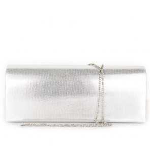 Pochette raso argento elegante da cerimonia