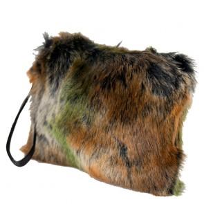 Borsetta pelliccia ecologica maculata con tracolla