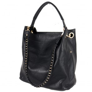 Borsa a spalla hobo bag con catena nera degree